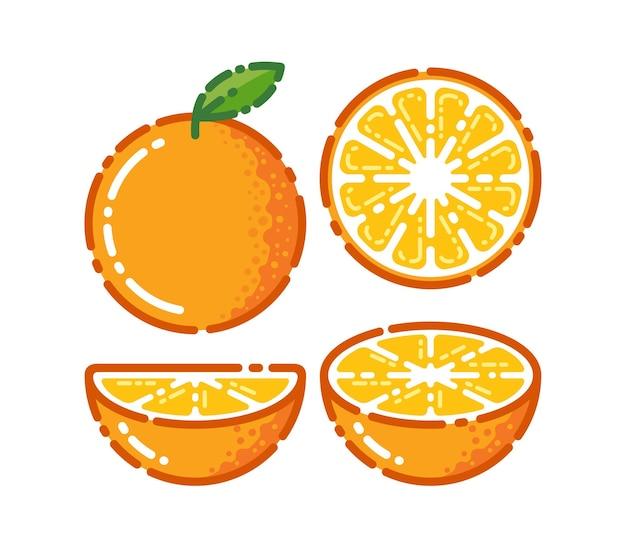 Orangenfrucht. orangen, die auf einem weißen hintergrund segmentiert sind.
