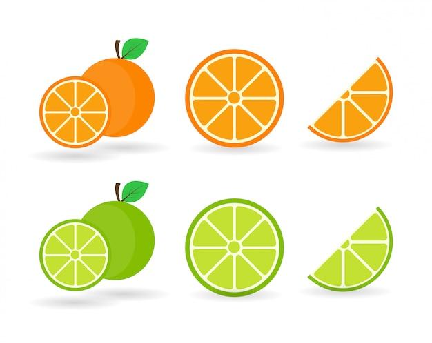 Orangenfrucht und limette. orangen, die auf einem weißen hintergrund segmentiert sind.