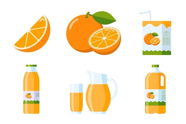 Orangenfrucht und saft-elemente-sammlung. zitrusartikel-set im flachen stil: orangenscheibe und ganze früchte, orangensaftpakete (karton, glas, krug, plastik- und glasflasche). premium-vektor