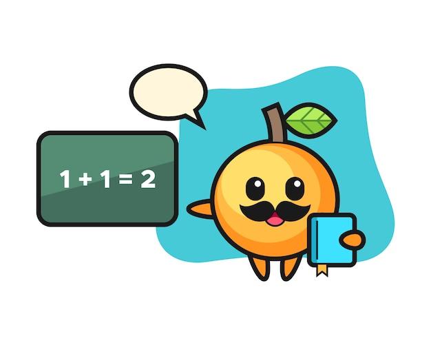 Orangenfruchtkarikatur als lehrer