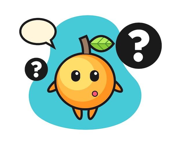 Orangenfruchtkarikatur mit dem fragezeichen