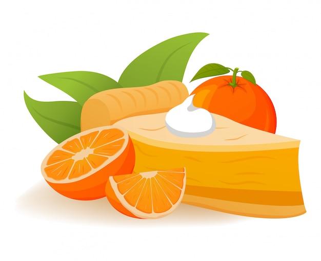 Orangenkuchen schlagsahne in scheiben schneiden. tropisches fruchtdessertkonzept.