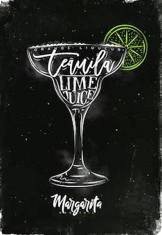 Orangenlikör der margarita-cocktail-beschriftung, tequila, limettensaft in der grafischen zeichnung der weinleseart mit kreide und farbe auf tafelhintergrund