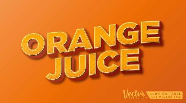 Orangensaft 3d bearbeitbare textstil-effekt-mockup-vorlage
