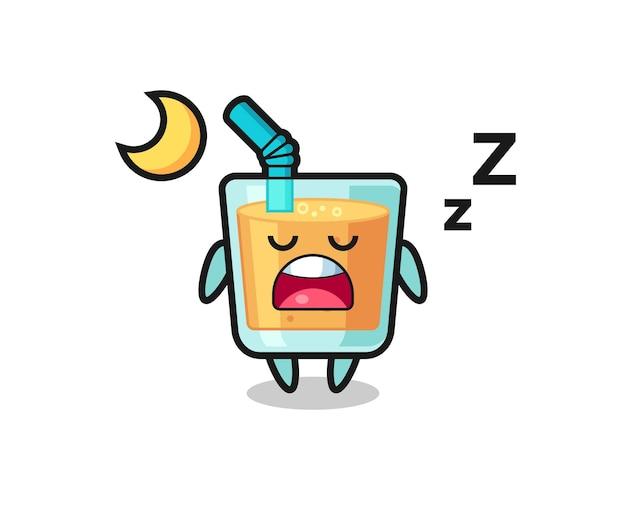 Orangensaft-charakterillustration, die nachts schläft, niedliches stildesign für t-shirt, aufkleber, logoelement