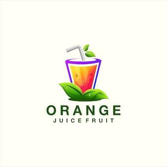 Orangensaft-farbverlauf-logo-design