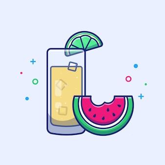 Orangensaft mit wassermelonen-frucht-illustration. sommergetränk. feiertagskonzept weiß isoliert