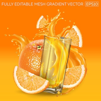Orangensaft spritzt in ein glas und orangen um ihn herum.