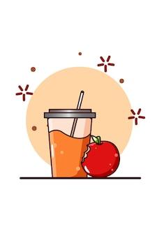 Orangensaft und apfelkarikaturillustration