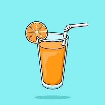 Orangensaftgetränk im glas und zitrusfrucht-karikatur-vektor-illustration