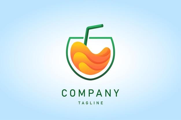 Orangensaftgetränk mit farbverlauf-logo