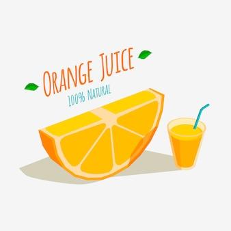 Orangenscheibe und ein glas frischer orangensaft