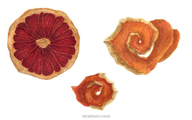 Orangenscheibe und orangenschale für den weihnachtswein