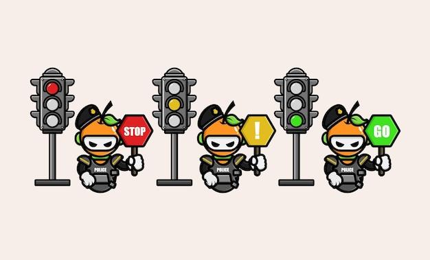 Oranger polizist mit verkehrszeichensymbol