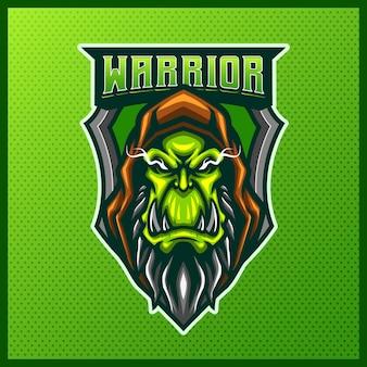 Orc skull gladiator warrior maskottchen esport logo design illustrationen vektorvorlage, orc knight mit achsenlogo für team game streamer discord, vollfarb-cartoon-stil