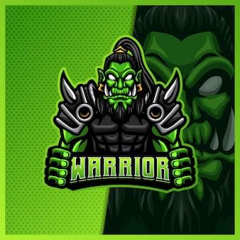 Orc spartanischer gladiator krieger maskottchen esport logo design illustrationen vorlage, wikingerritter