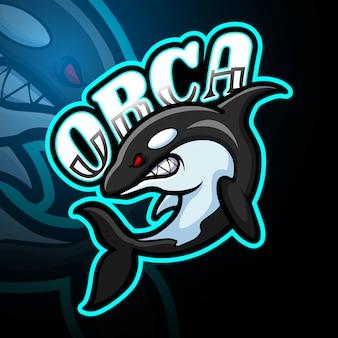 Orca esport logo maskottchen design