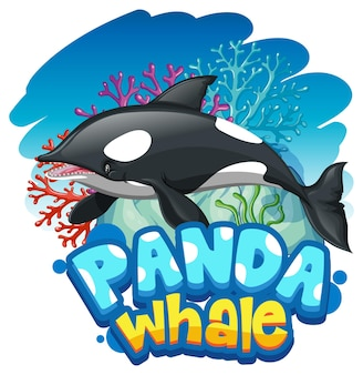 Orca- oder killerwal-cartoon-figur mit panda whale-schriftart-banner isoliert Kostenlosen Vektoren