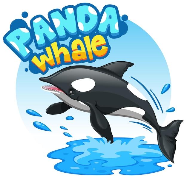 Orca- oder killerwal-cartoon-figur mit panda whale-schriftart isoliert
