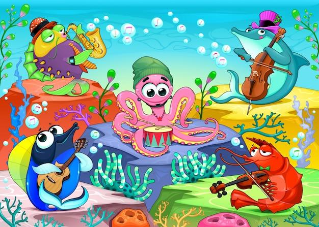 Orchester im meer lustige musikalische szene mit gruppe von meerestieren vektor cartoon illustration