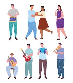 Orchesterspielinstrumente und frau singen mit tänzerpaarcharakterillustration