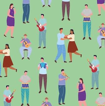 Orchesterspielinstrumente und frau singen mit tänzerpaarmusterillustration