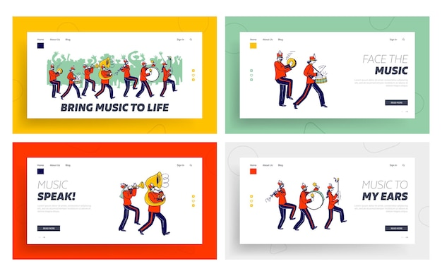 Orchestral march parade landing page template set.