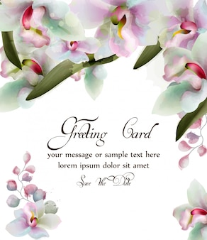 Orchidee blüht aquarellkarte