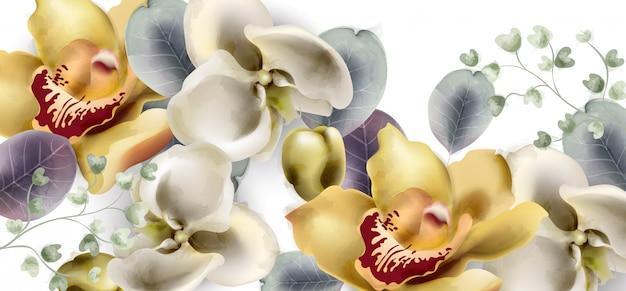 Orchidee blüht weinlesefahnenaquarell