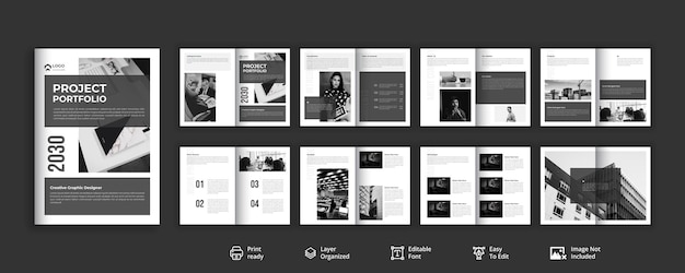 Ordentliches und sauberes minimalistisches broschürendesign auf 16 seiten
