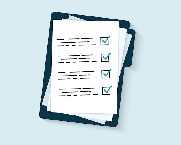 Ordner mit checkliste isoliert. vertragspapiere.prüfungsformular. dokumentieren. ordner mit dokumentencheckliste und stempel, text.