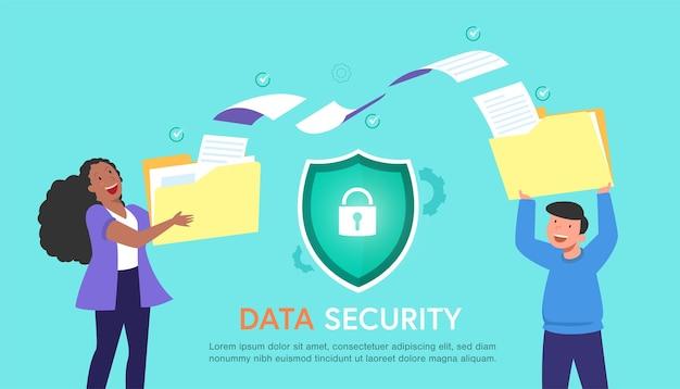 Ordner- und dateiübertragung bewegen sich mit sicherheit und vorhängeschloss und team-personen-zeichentrickfigur mit moderner wohnung, dateiübertragung mit sicherheitskonzept