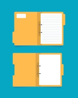 Ordnersymbol öffnen ordner mit dokumentenflaches design-symbol-vektor-illustration