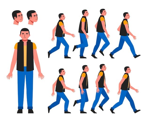 Organic flat character animation frames pack