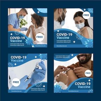 Organic flat coronavirus instagram post set Premium Vektoren