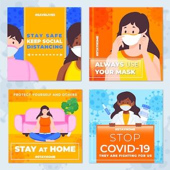 Organic flat coronavirus instagram post set
