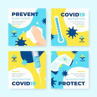Organic flat coronavirus instagram post set Kostenlosen Vektoren