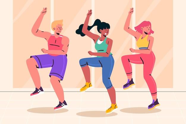 Organic flat dance fitness klasse illustriert