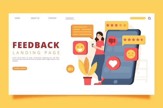 Organic flat feedback landing page vorlage