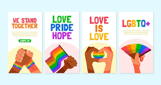 Organic flat pride day instagram geschichten sammlung