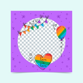Organic flat pride day social media rahmenvorlage