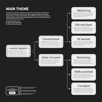 Organigrammvorlage mit geometrischen elementen auf schwarzem hintergrund. nützlich für wissenschaftliche und geschäftliche präsentationen.