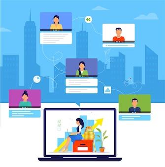 Organisation eines workflows oder einer schulung über das internet.