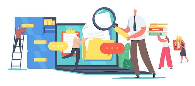 Organisation elektronischer dateien, dokumentenmanagement-konzept. digital data computer archive storage system, informationsdatenbankkatalog. winzige charaktere bei riesigem laptop. cartoon-vektor-illustration