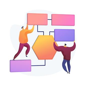 Organisation von geschäftsprozessen. verteilung der belegschaft, delegieren von verantwortlichkeiten, planen und planen. managementüberwachung und -kontrolle. vektor isolierte konzeptmetapherillustration