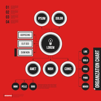 Organisationsdiagrammschablone mit geometrischen elementen auf hellem rotem hintergrund