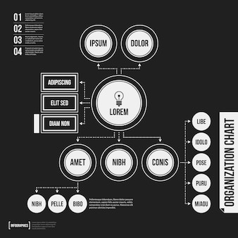 Organisationsdiagrammschablone mit geometrischen elementen auf schwarzem hintergrund. nützlich für wissenschaftliche und geschäftliche präsentationen.