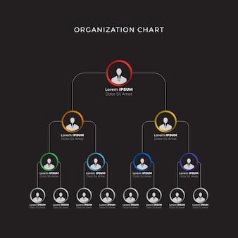 Organisationsstruktur der unternehmenshierarchie auf schwarz