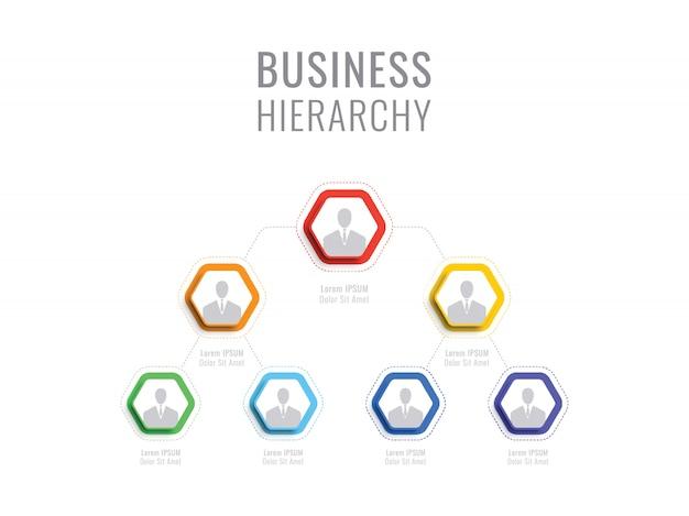 Organisationsstruktur des unternehmens. geschäftshierarchie hexagonale infografik-elemente. mehrstufige geschäftsführungsstruktur