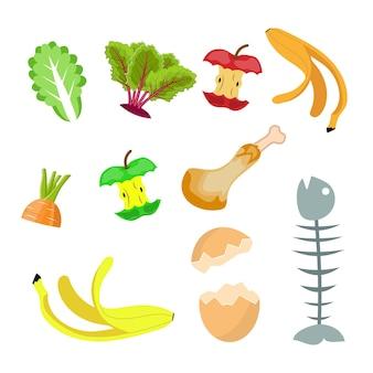 Organische abfälle, lebensmittelkompostsammlung banane, ei, fischgräte und apfelstumpf